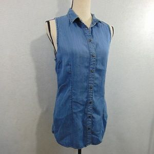 Maurices Chambray Open Back Snap Front Shirt L